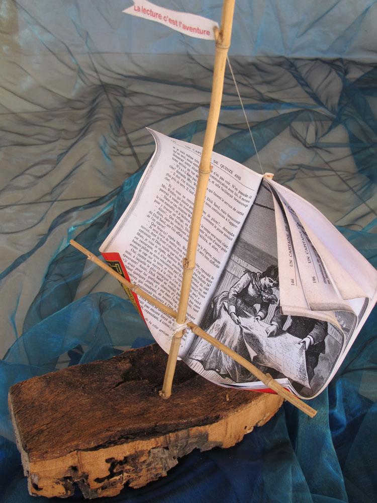 """<i> La Lecture, c'est l'aventure</i>  Livre-objet, """"Le Tour du monde en 80 jours"""""""