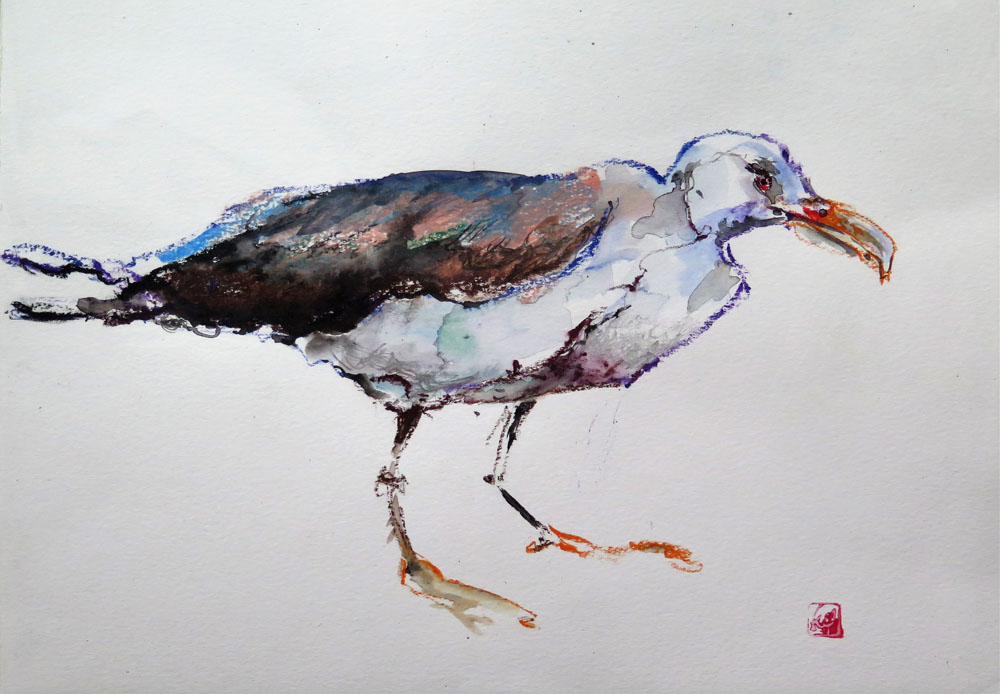 <i>Mouette</i>. encres et crayons de couleurs. 29 X 42