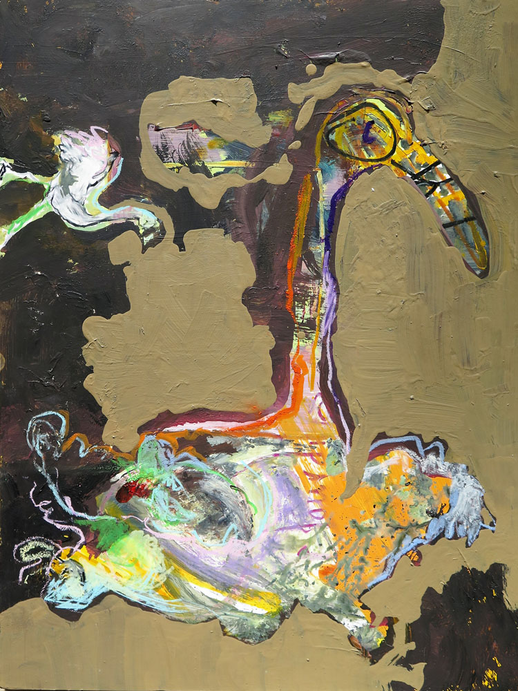<i> Dodo dans son nid</i> acrylique et craies. 65 X 50