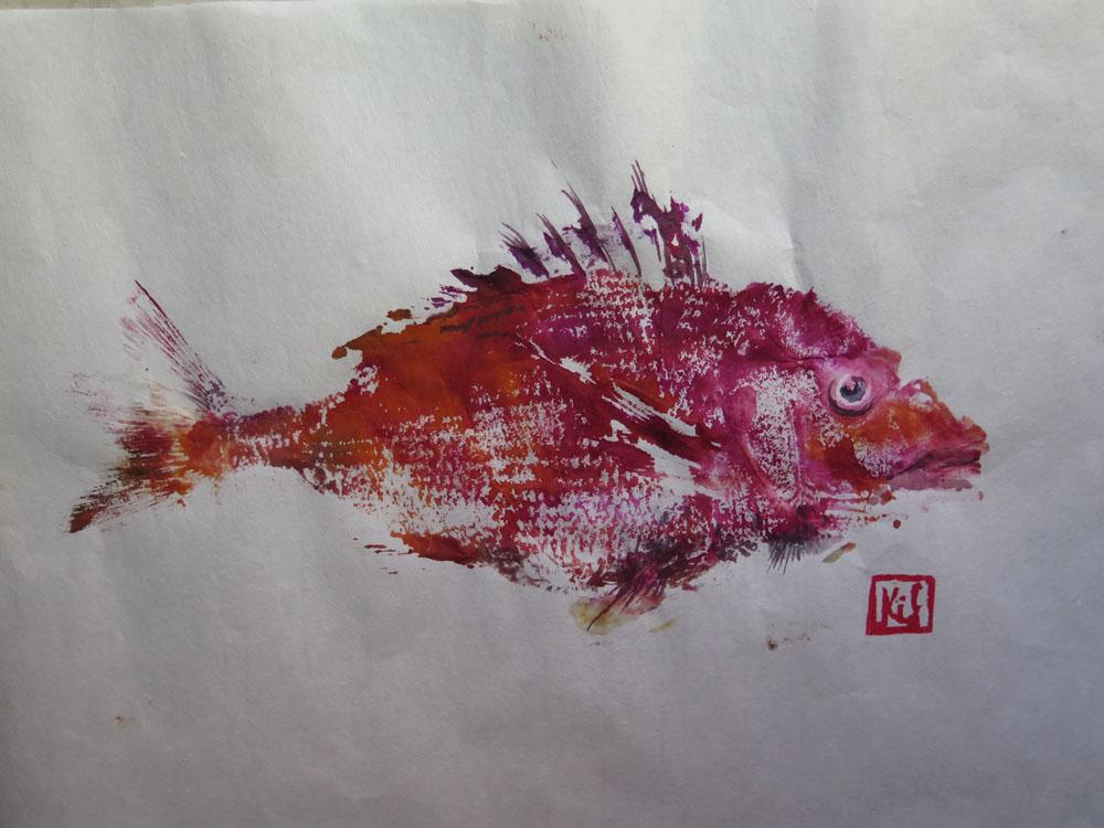 <i> Rascasse 2</i> Encres, papier Japon. 25 X 36
