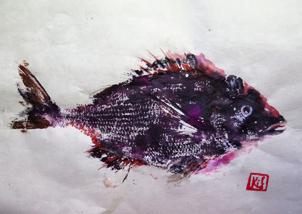<i> Rascasse</i> Encres sur papier Japon. 25 X 36
