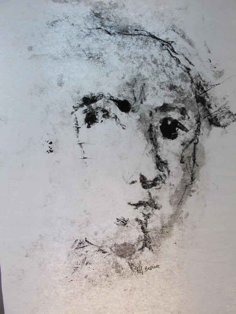 <i> Rembrandt</i> monotype encre de Chine sur papier Japon. 30 X 21