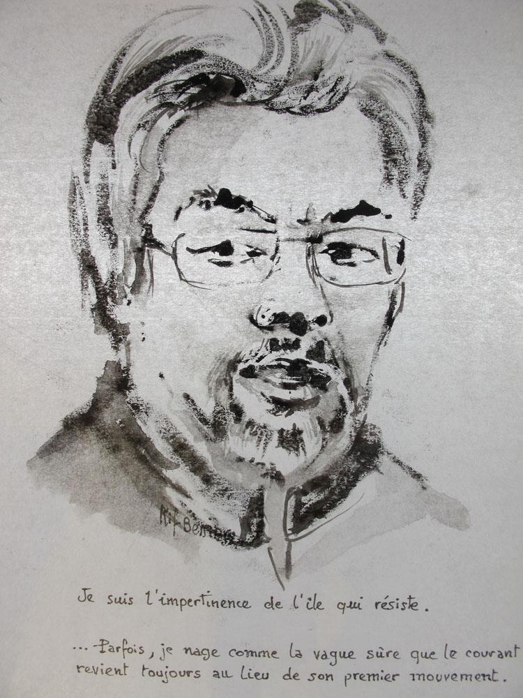<i>Torabuli poète réunionnais</i> Monotype encre de Chine sur papier Japon. 28 X 21