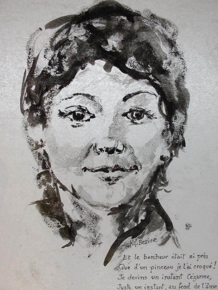 <i> Mireille FERRANDEZ, poète</i> encre de Chine sur papier Japon. 28 X 21. Coll. particulière