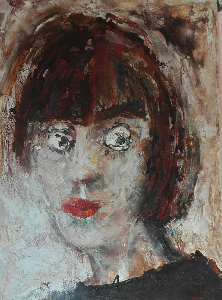<i> Autoportrait</i> Acrylique sur lin.  110 X 80