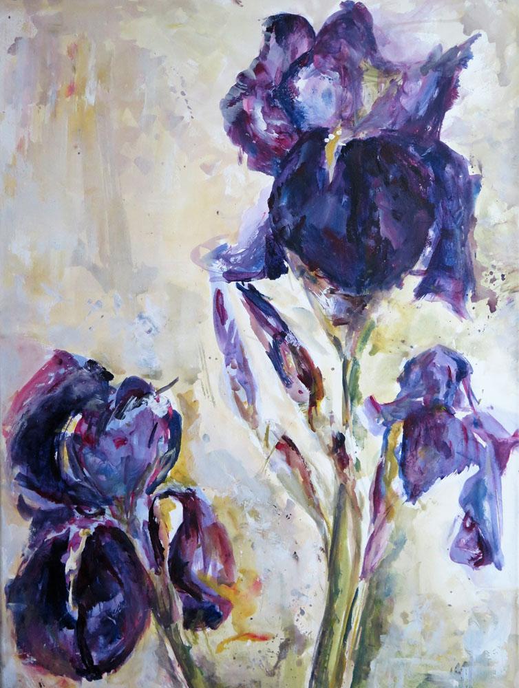 <i> Iris</i> Acrylique marouflé. 80 X 60. Coll. particulière