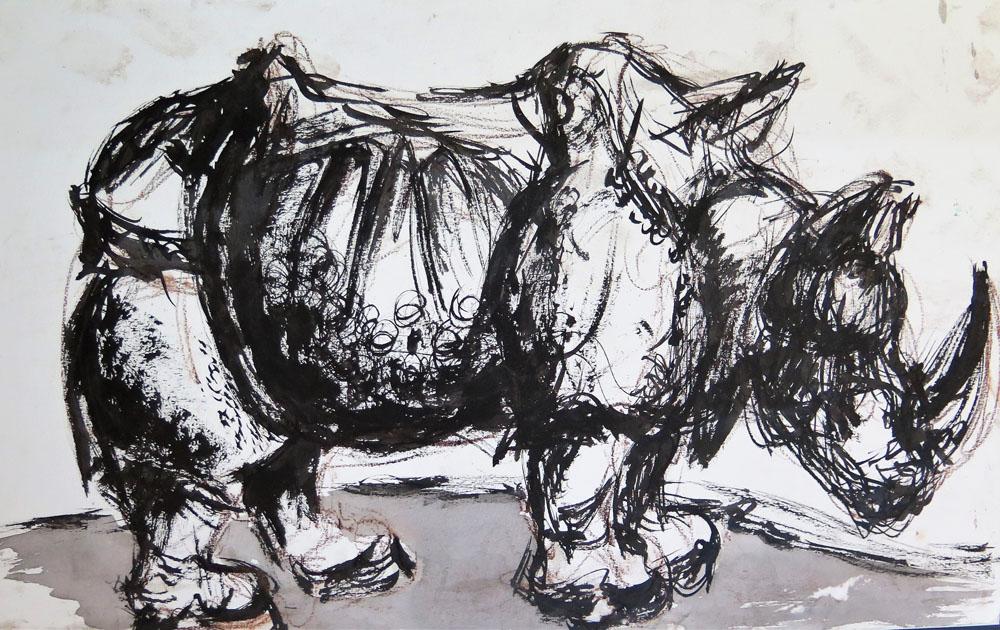 <i> Rhinoceros d'après Dürer</i> Encre de Chine et lavis 30 X 45