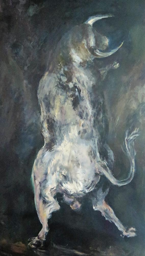 <i>Bondissant</i> peinture à la main. 182 X 100